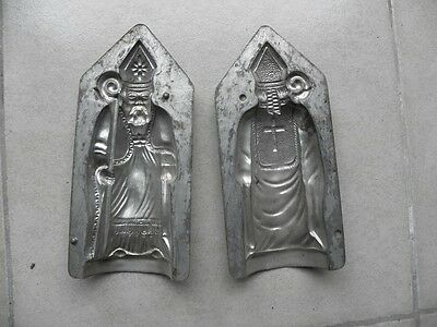 antique mould Santa Claus chocolate St Nicholas candy mold tin french vintage