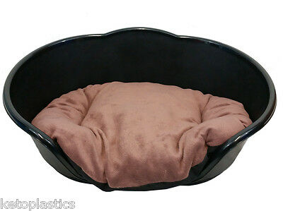 SMALL Plastic BLACK Pet Bed With BROWN Cushion Dog Cat Sleep Basket, puppy
