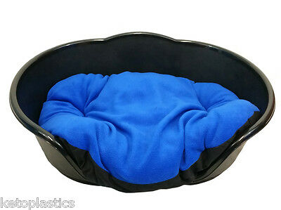 SMALL Plastic BLACK Pet Bed With BLUE Cushion Dog Cat Sleep Basket, puppy
