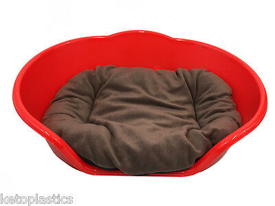 SMALL Plastic RED Pet Bed With BROWN Cushion Dog Cat Sleep Basket, puppy