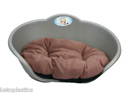 SMALL Plastic SILVER / GREY Pet Bed With BROWN Cushion Dog Cat Sleep Basket