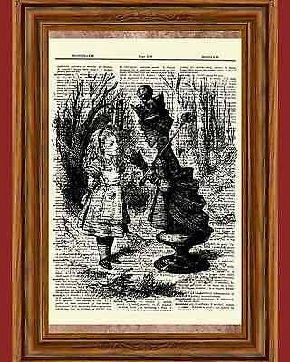 Alice in Wonderland Dictionary Art Print Book Fairy Tale Picture Queen Chess