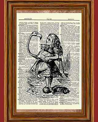 Alice in Wonderland Flamingo Dictionary Art Print Book Page Mixed Media OOAK