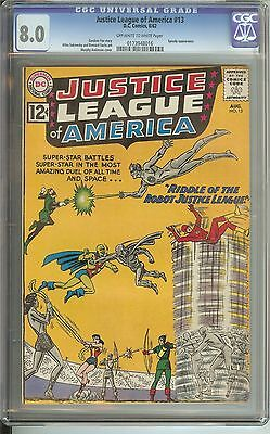 Justice League Of America #13 Cgc 8.0 Ow/wh Pages // Speedy Cover/appearance