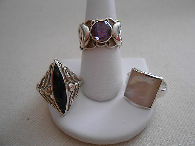 Lot of Three Sterling Silver Gem Stone Rings   606075