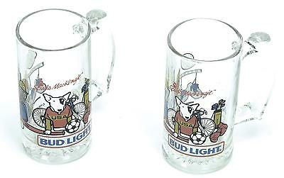 Vintage 1988 Bud Light Spuds McKenzie USA Sports Beer Mug Glasses (Set of 2)