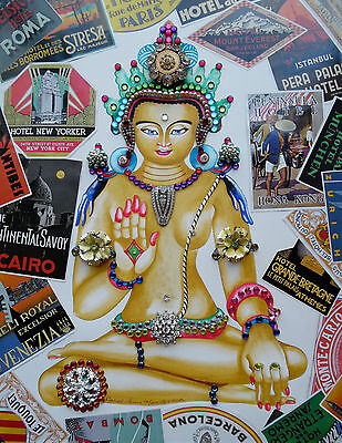 Bodhisattva Compassion Being Guanyin Kwan Yin Bejeweled Collage Painting Signed