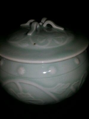 Old Chinese Hand made ZhongGuo longquanc crossing lidded Floral Design6X4.5INCH