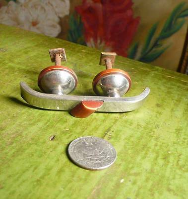 1 art deco TESTED bakelite metal Pull handles knobs 44 grams (s11234)