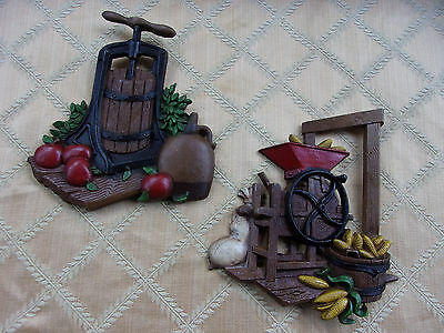 Vintage 1978 Home Interiors Two Metal Wall Plaques HOMCO