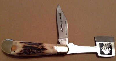 1981 Taylor Elk Horn Stag Handle Cherry Tree Chopper Two Blade Folding Knife