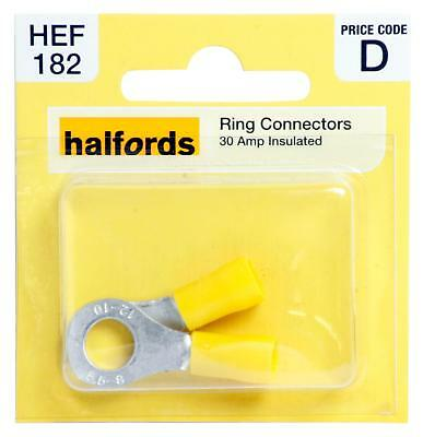 Halfords HEF182 Ring Connectors Pack 2 Pieces 30 Amp Insulated Terminal Wiring