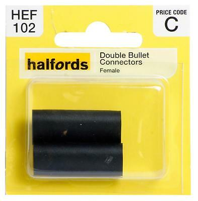 Halfords HEF102 Double Bullet Connectors Pack 2 Pieces Female Terminal Wiring