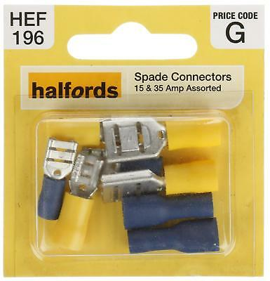 Halfords HEF196 Assorted Spade Connectors 15 35 Amp Male Female 6.3mm 9.5mm