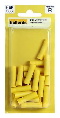Halfords HEF386 Butt Connectors Pack 20 Pieces 25 Amp Yellow Insulated Wiring