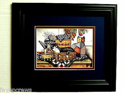 Folk Art Picture Country Baskets Water Can Kitty Cat Apples Matted Framed 8X10