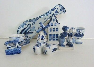 8 Delft Collectibles Kissing Couple, Spoonrest, Canal House, Cup & Saucer, Clogs