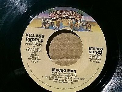 """THE VILLAGE PEOPLE 45 RPM """"Macho Man"""" & """"Key West"""" G+ to VG+ condition"""
