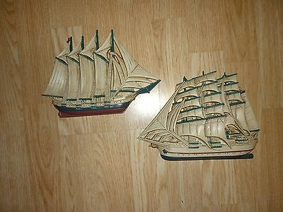 VINTAGE Burwood 3331 Nautical Clipper Ship Sail Boat Wheel Wall Plaque Set!