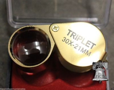 US SELLER Jewelers Eye Loupe TRIPLET 30X21mm MAGNIFIER Coin Stamp Grading + CASE