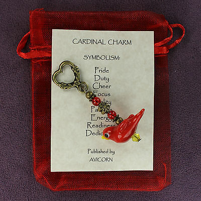 RED CARDINAL CHARM Totem Symbol Amulet Talisman Attraction Symbol Bird Passion