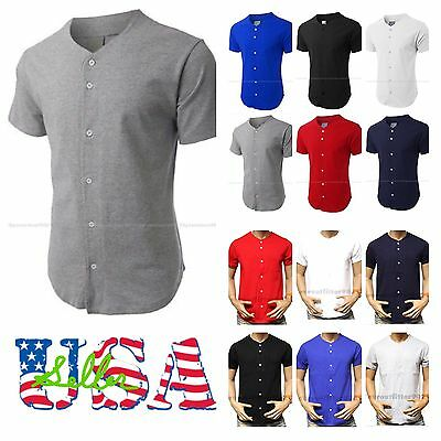 Baseball Jersey T-Shirt  Plain Blank Solid Color Practice Sports Tee Button S-3X