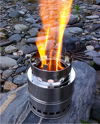 Wood Burning Stove Solo Camping Stove Outdoor Portable Backpacking Wood Gas New
