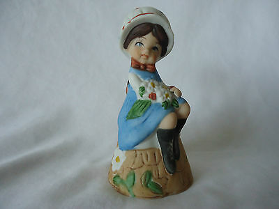 Bisque Porcelain Bell Girl w / Puppy 1978 by JASCO