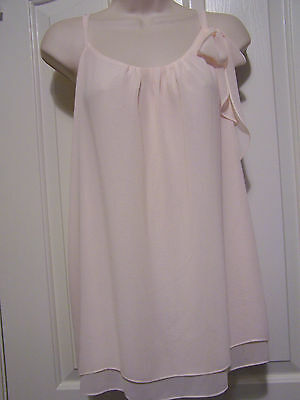 FLORA NIKROOZ Double Layer Chiffon Chemise with Side Bow Pale Peach