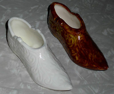 VINTAGE OLD DECORATIVE COLLECTABLE CERAMIC WHITE / BROWN SHOES  for DISPLAY
