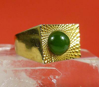 Bold Impressive 8mm Round Oriental Green Jade 14k Gold Plated Ring Size 9 W30