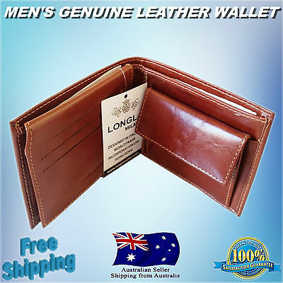 Austodex Luxury Mens Genuine Quality Leather cash Wallet trifold Coin Purse new