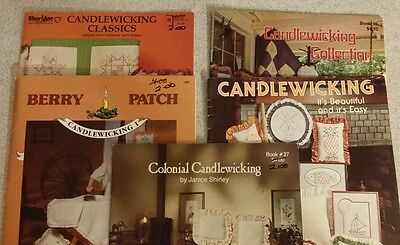 VINTAGE 1982 LOT OF 5 CANDLEWICKING PATTERN BOOKS-DIFFERENT BRANDS