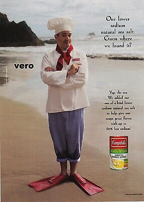 CAMPBELL'S SOUP 2008 magazine ad clipping advert print sea salt chef in flippers