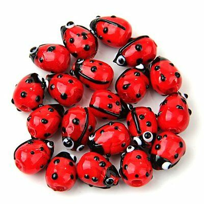 20 Red Lampwork Glass Ladybug Ladybird Loose Beads 12mm HOT MS