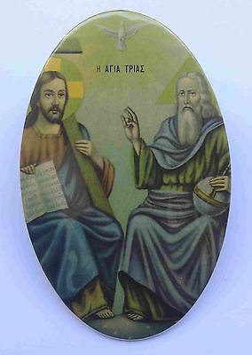 HOLY TRINITY Father- Son -Holy Spirit # Vintage Greek Orthodox Icon on Metal