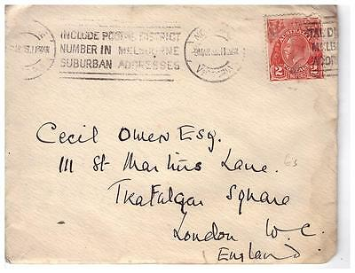 shop1007 Australia cover to England with cachet