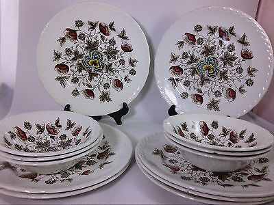 SET OF 13 PIECES Old Chelsea W.H. Grindley transferware ironware Staffordshire