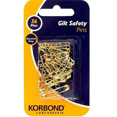 Korbond Gilt Safety Pins 36pcs