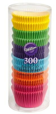 """Wilton Assorted Rainbow Bright Cupcake Baking Cups Liners 300/pk 2""""  415-2179"""