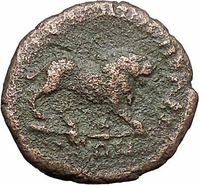 COMMODUS Marcus Aurelius Son RARE Ancient  Roman Coin Monster Nemean Lion i48001