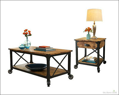Rustic Country Living Room Set, 2 Pc Coffee Table Side End Modern Vintage Accent