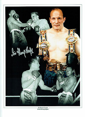 Sir Henry COOPER Signed Autograph Boxing RARE 16x12 Montage Photo AFTAL COA