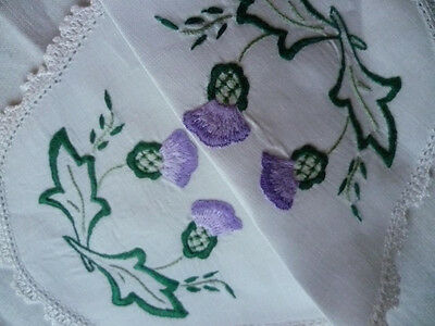 Purple Thistles 'Oh Bonnie Scotland' Vintage Hand Embroidered Doily