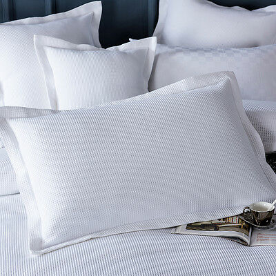 New ONE PAIR of Luxury 100% cotton White Waffle Standard Pillowcases Pillow slip