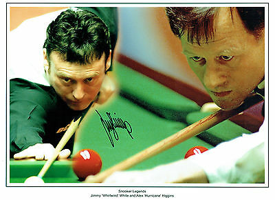 Jimmy WHITE Signed Autograph 16x12 Snooker Photo with Alex HIGGINS AFTAL COA
