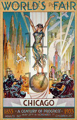 1933 Chicago World's Fair #1 - 11x17 Vintage Art Deco Poster