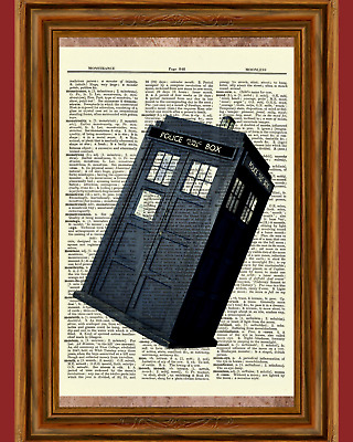 Doctor Who Dictionary Tardis Police Dr. TV bow Art Print Book Page Mixed Media