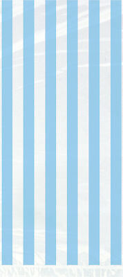 20 Striped Powder Blue Cellophane Gift Bags - Plastic Loot/Party/Wedding