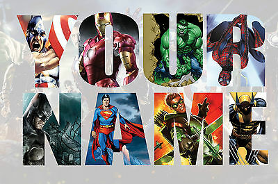 Personalised Kids Nursery Marvel Avengers Name Wall decal stickers *3 SIZES* V2